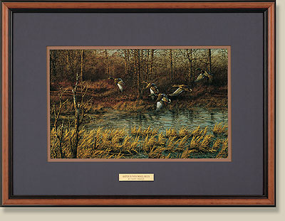 Apple River Mallards Walnut Framed